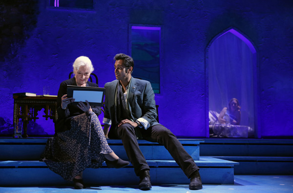 Rosemary Harris and Bhavesh Patel in Tom Stoppard's Indian Ink, directed by Carey Perloff, at Roundabout Theatre Company's Laura Pels Theatre.