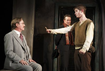 "Richard Thomas, Derek Smith and Jonathan Gordon in a scene from ""Incident at Vichy"" (Photo credit: Joan Marcus)"